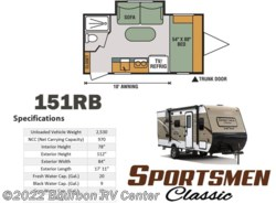 New 2017  K-Z Sportsmen Classic 151RB by K-Z from Bourbon RV Center in Bourbon, MO