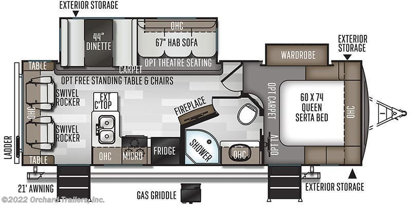 2020 Forest River Rockwood Ultra Lite 2604SW floorplan image