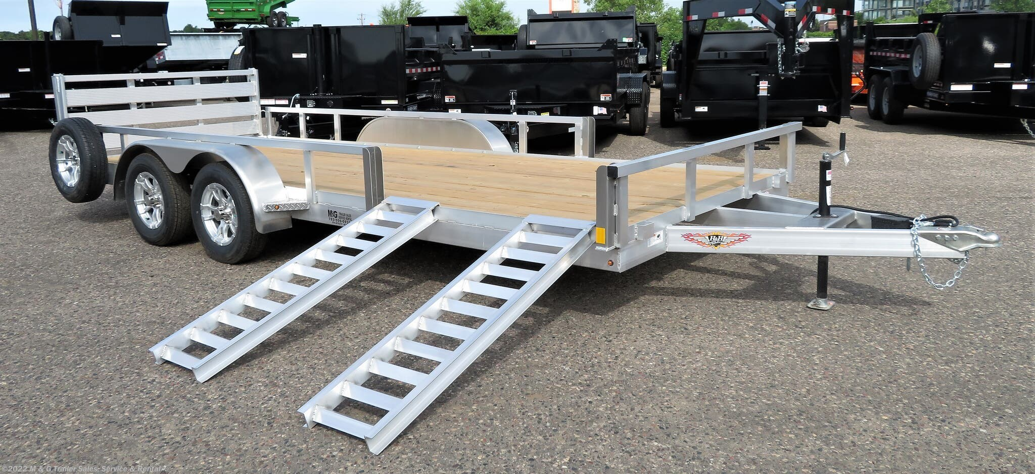 2021 H&H 82x18TA Aluminum Rail Side ATV/Utility Trailer - Stock #54893