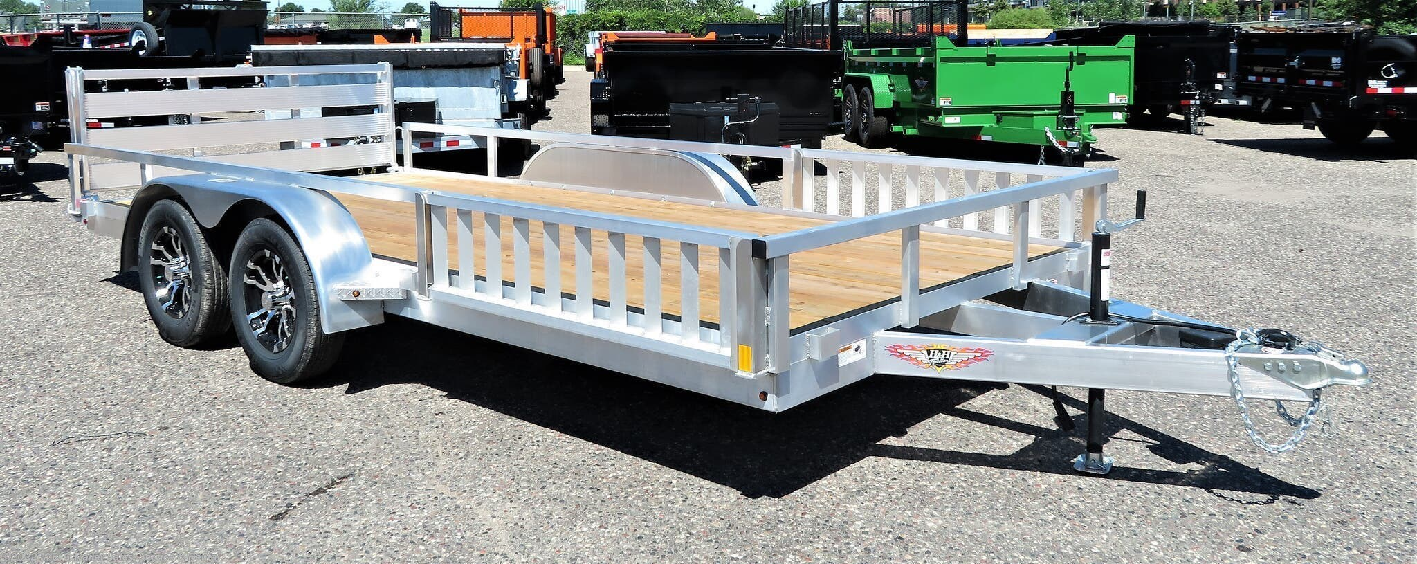 2021 H&H 82x16TA Aluminum Rail Side/ATV Trailer - Stock #540892