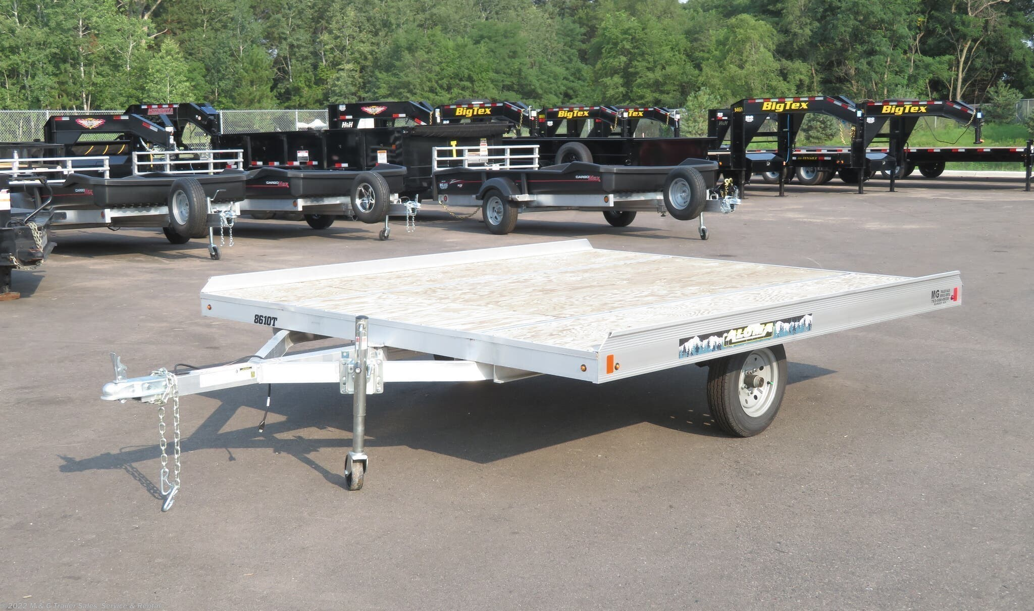 2021 Aluma 8610T Aluminum Tilt Bed Snowmobile Trailer - Stock #229475