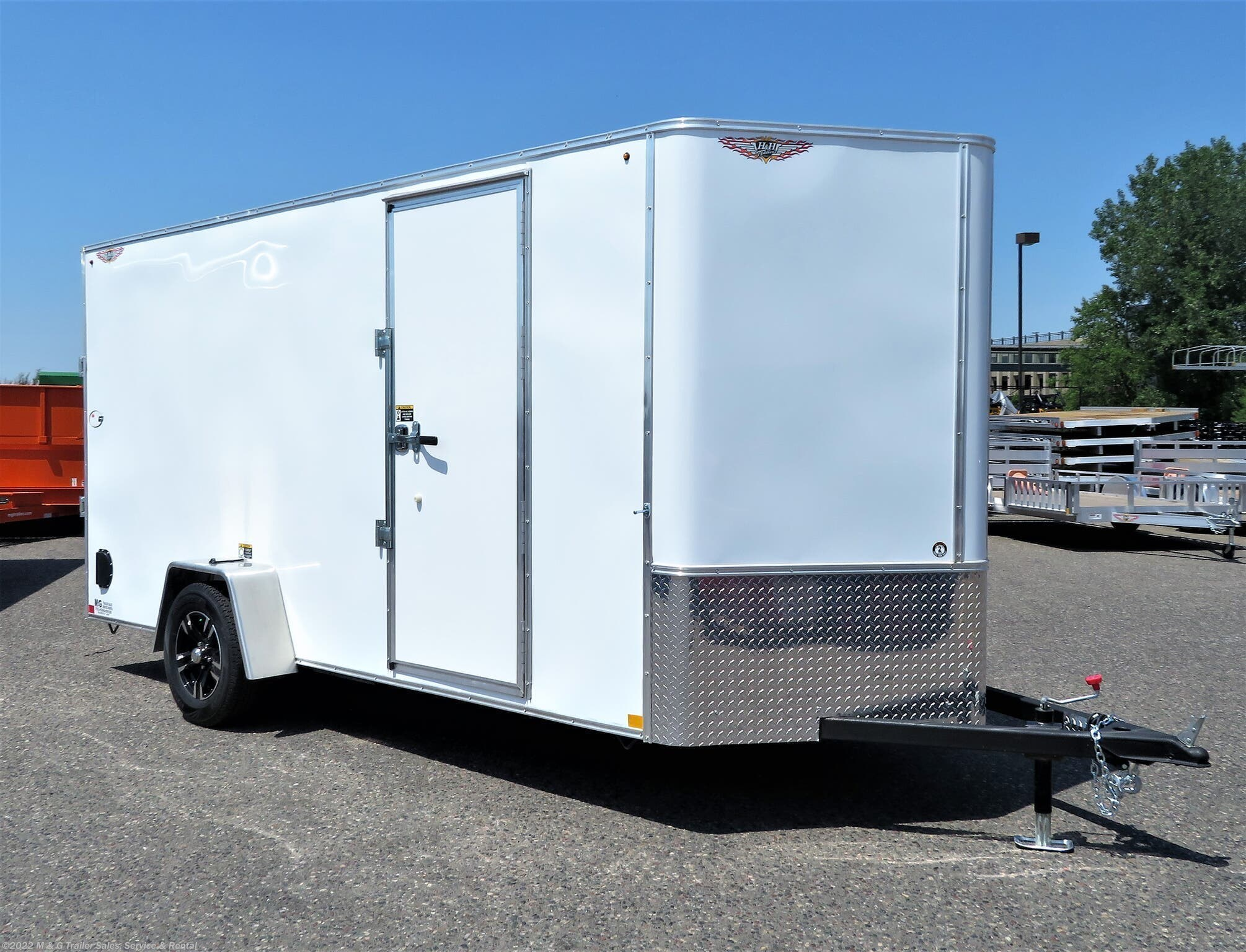 "2021 H&H 6x14SA Enclosed 6'6"" Int Cargo -White - Stock #545727"
