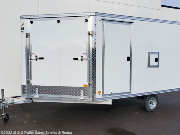 2021 Mission Trailers 8.5x12 Enclosed Deckover Snow Trailer - White available in Ramsey, MN