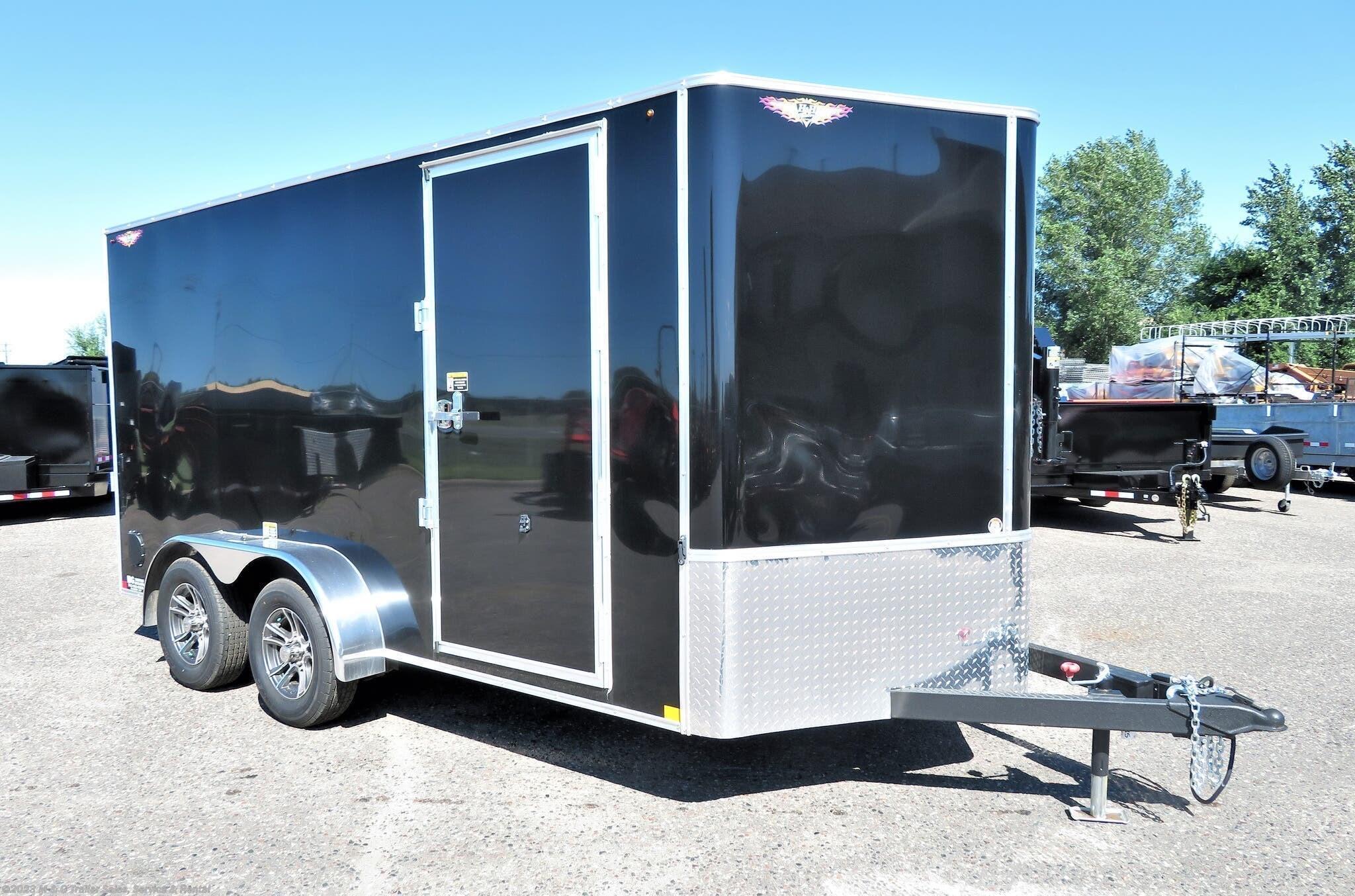 "2021 H&H 7x14TA Enclosed 6'6"" Int Cargo - Black - Stock #561052"
